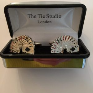 Cufflinks with playing cards design