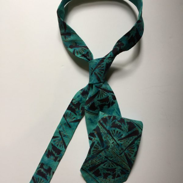 Blue tie with printed fan design