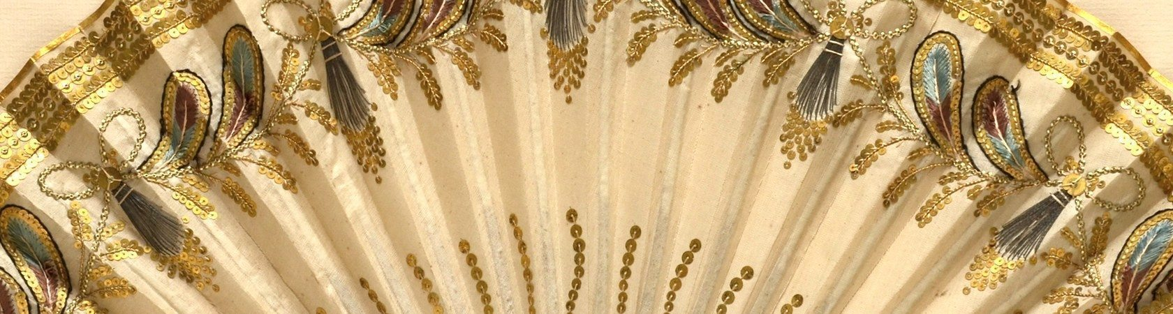 Embroidered silk fan c1800