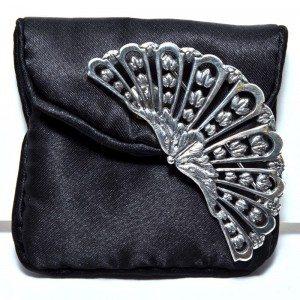Silver-plated fan brooch