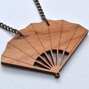 Wooden fan necklace