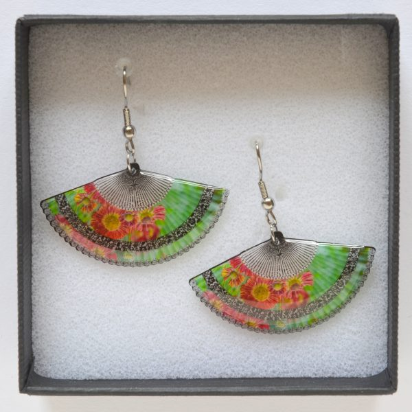 Green acrylic drop fans earrings