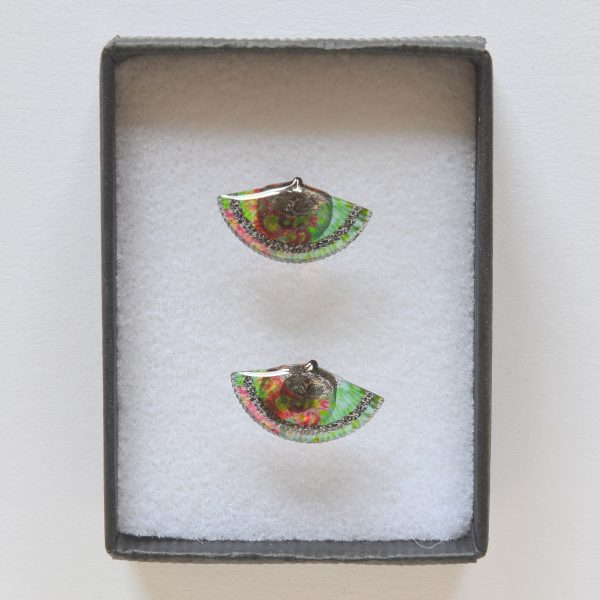 Green acrylic stud earrings